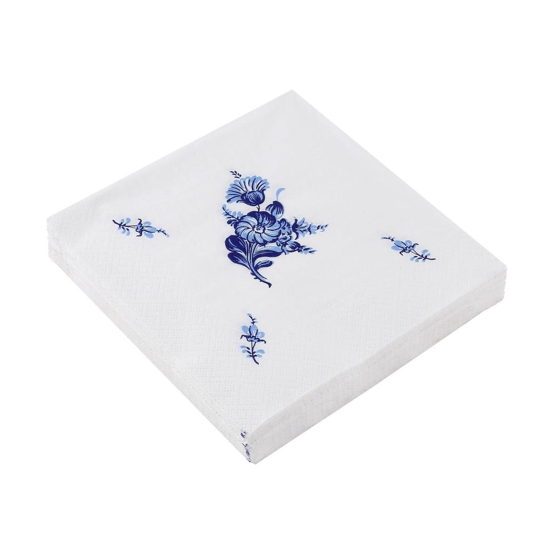 Blå Blomst Servietter, 20 stk.