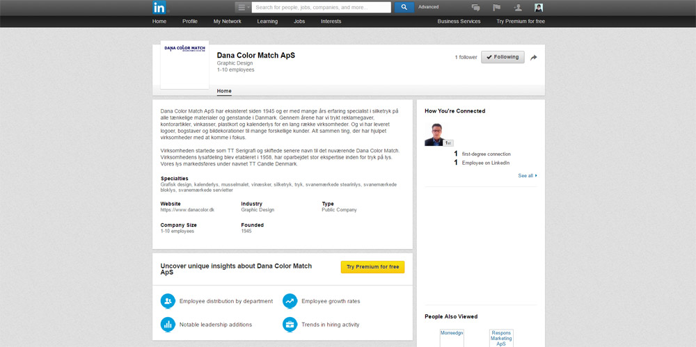 Nu er Dana Color Match ApS på Linkedin